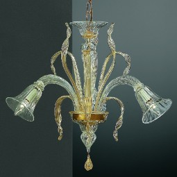 Rialto 3 lights Murano chandelier transparent gold color