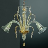 Rialto 3 lumieres lustre Murano - couleur transparent or