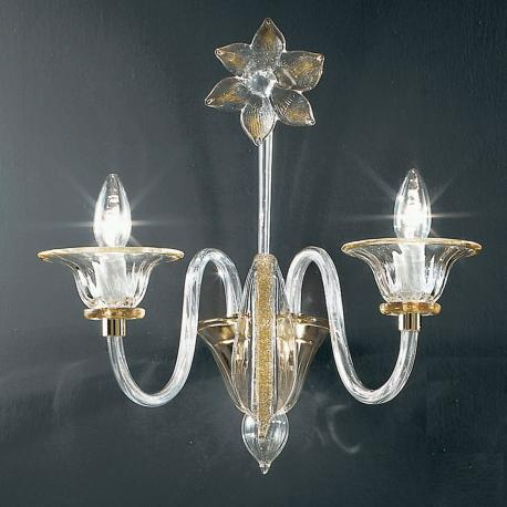 """Alloro"" Murano glass sconce - 2 lights - transparent and amber"