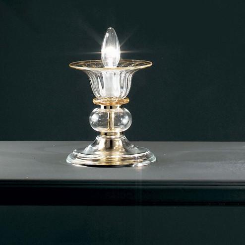 """""""Alloro"""" Murano nachttischleuchte - 1 flammig - transparent und bernstein"""