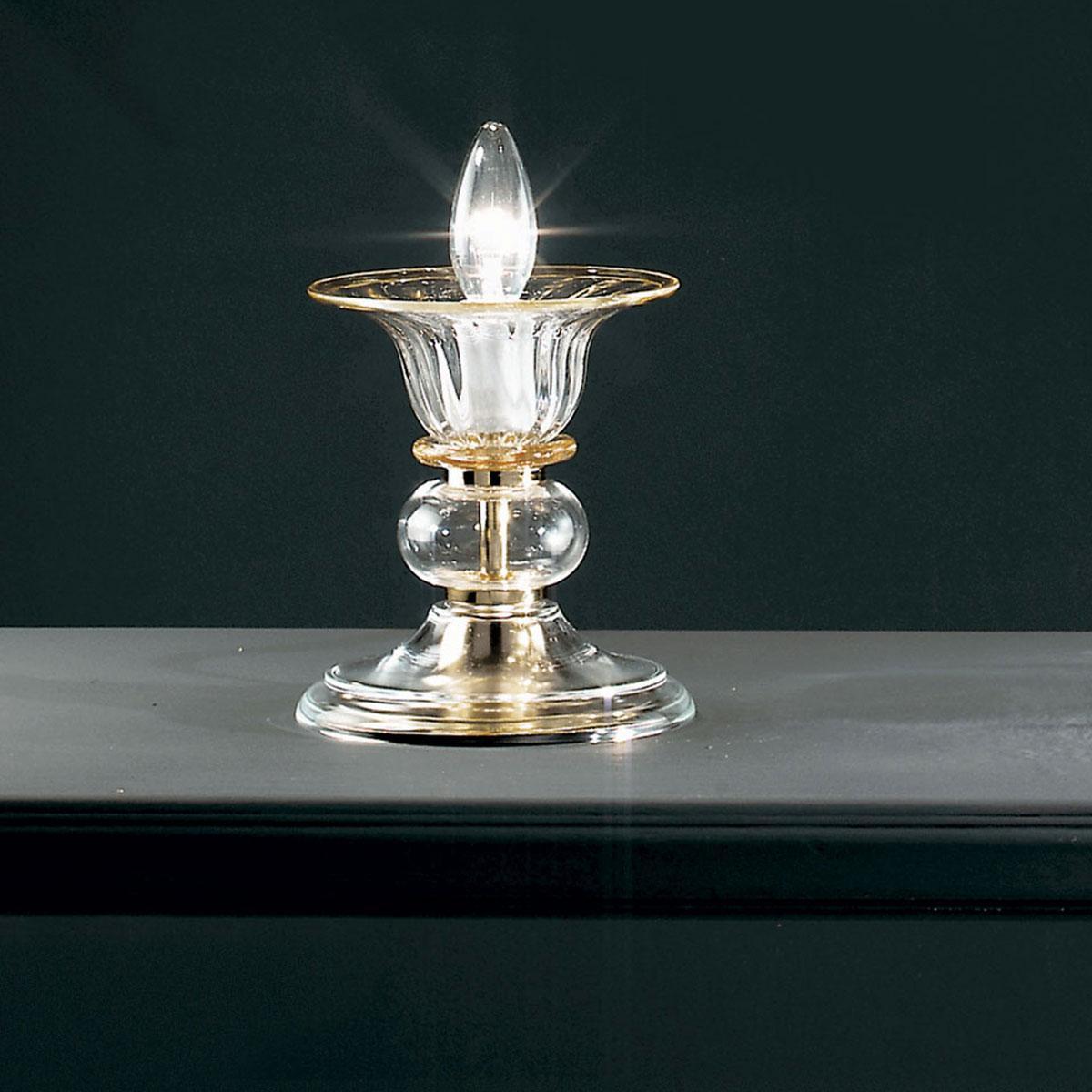 """""""Alloro"""" lampara de mesita de noche de Murano - 1 luce - transparente y ámbar"""