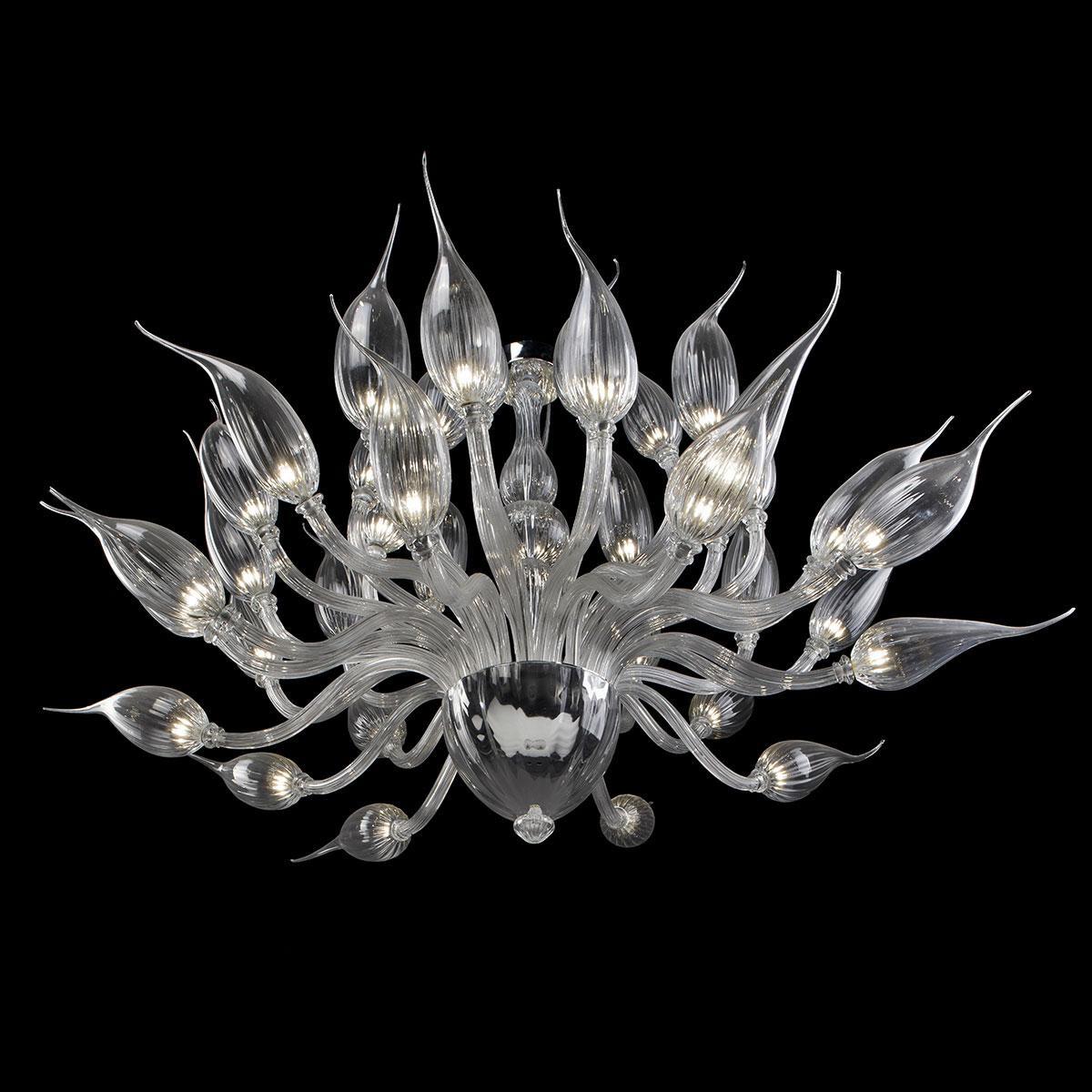 """Proserpina"" lustre en cristal de Murano - transparent -"