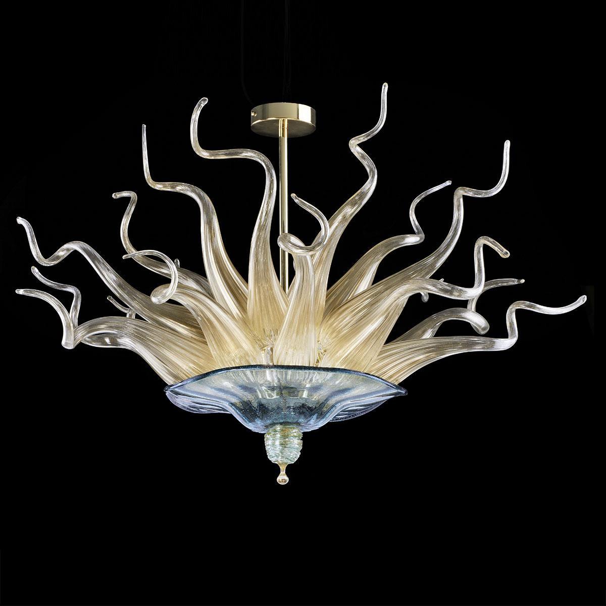 """""""Apollonia"""" lustre en cristal de Murano - bleu et or"""