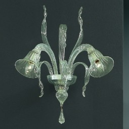 Rialto 2 lights Murano sconce transparent color