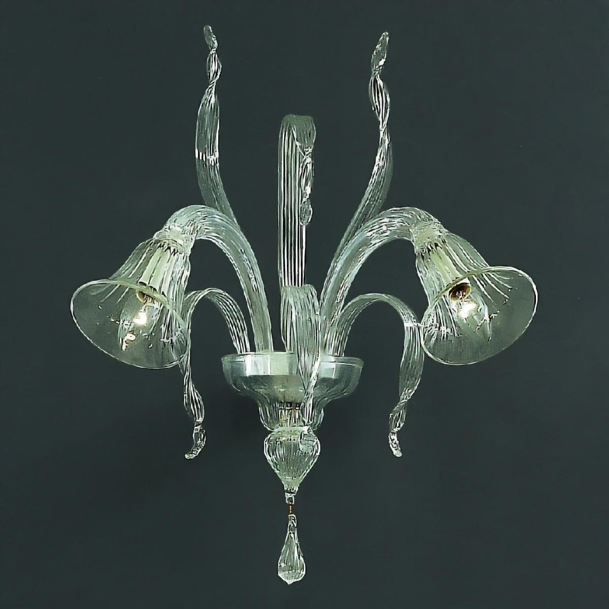 Rialto 2 lumières de couleur Murano Applique transparente