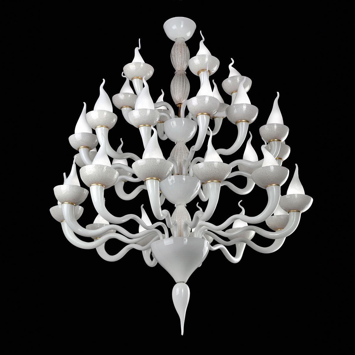 """Vulcano"" lustre en cristal de Murano - blanc -"