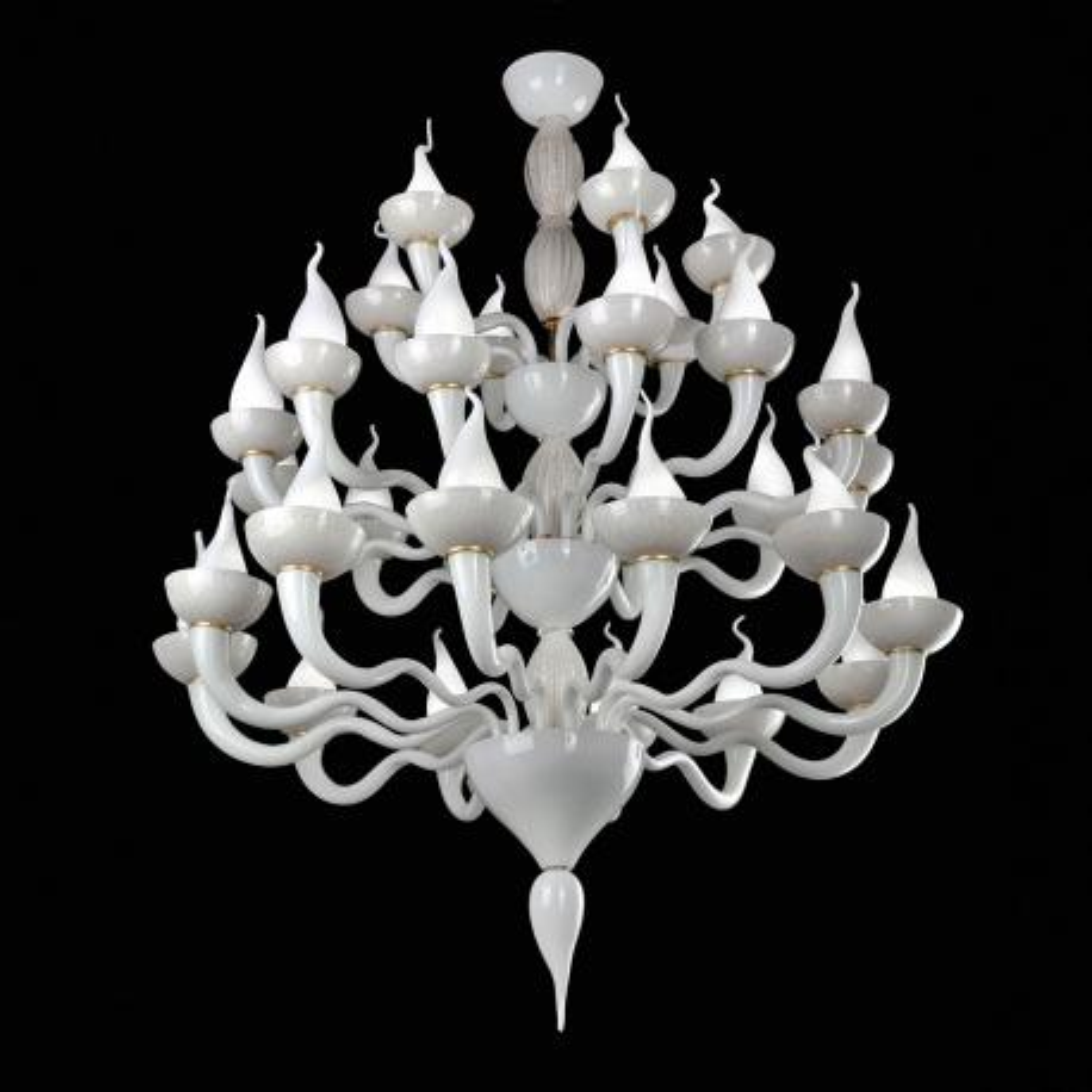 """""""Vulcano"""" Murano glass chandelier - white -"""