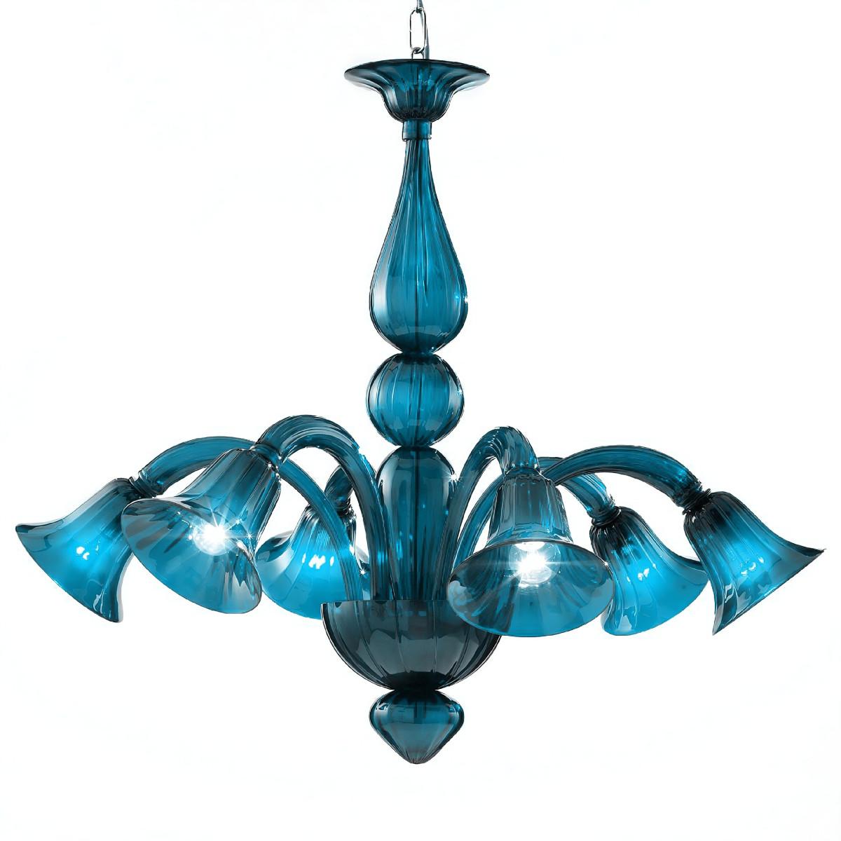 Serenissima 6 flammig Murano Kronleuchter - Aquamarin farbe