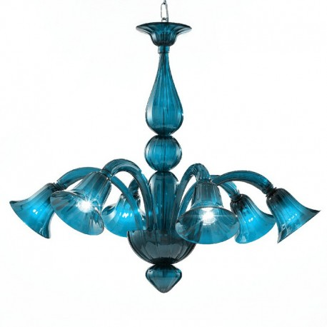 Serenissima 6 lights Murano chandelier aquamarine color