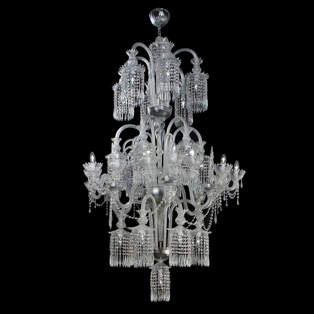 """Serse"" Murano glass chandelier - transparent -"