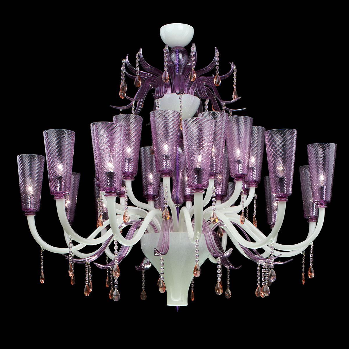 """""""Lullaby"""" lustre en cristal de Murano - blanc et rose -"""