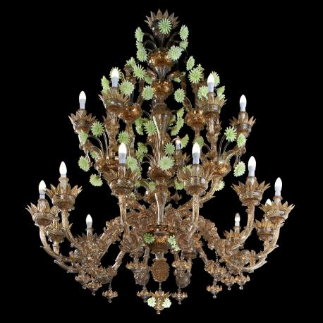 """Carosello"" Murano glass chandelier - brown and green -"