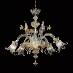 """Alba"" Murano glass chandelier - transparent and gold"