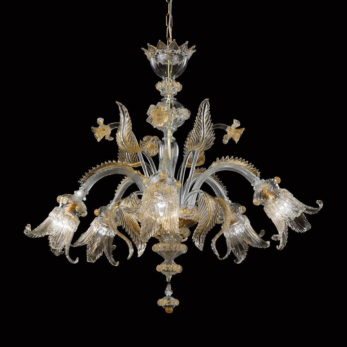 """""""Alba"""" lampara de araña de Murano - transparente y oro"""