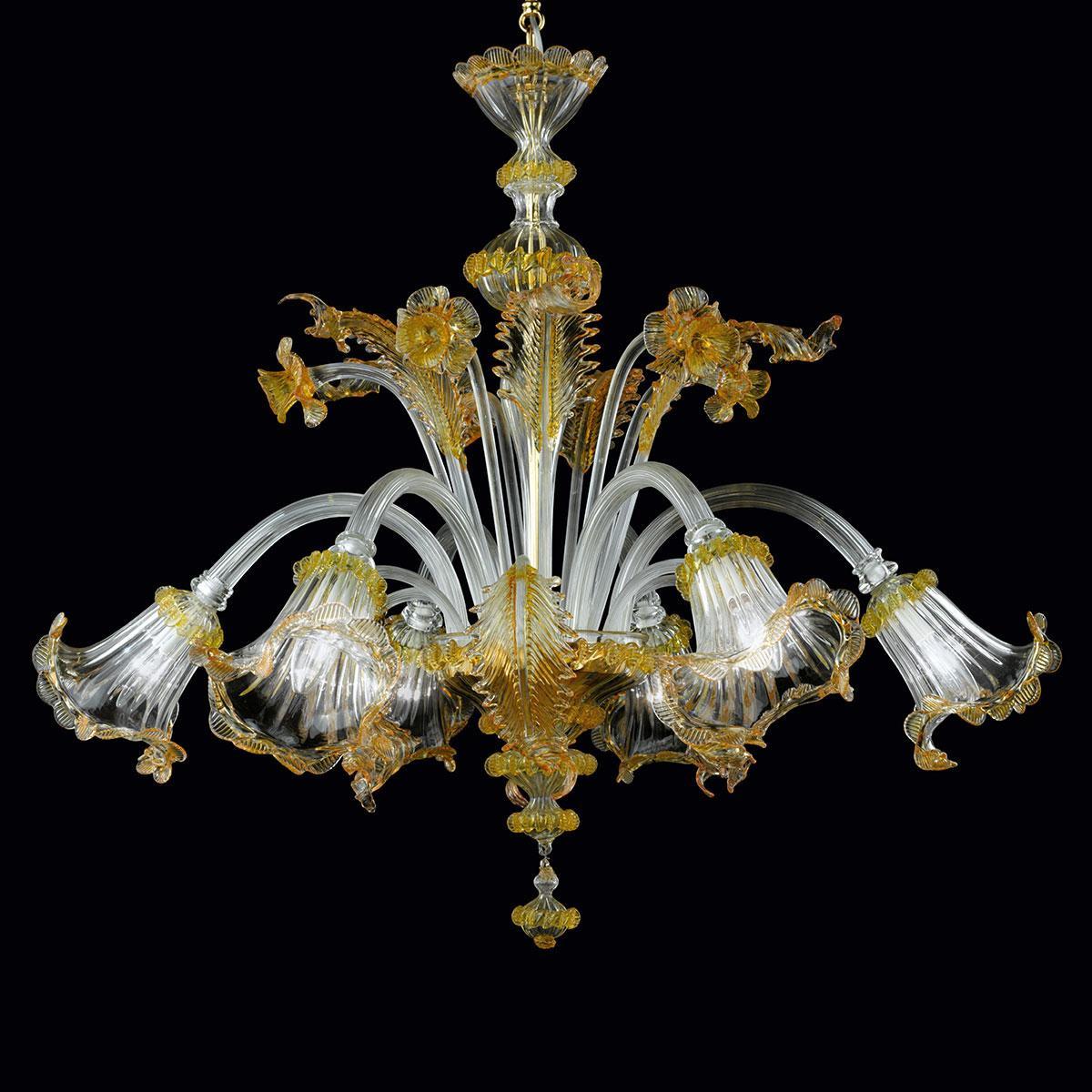 """Adelaide"" lustre en cristal de Murano - transparent et or -"