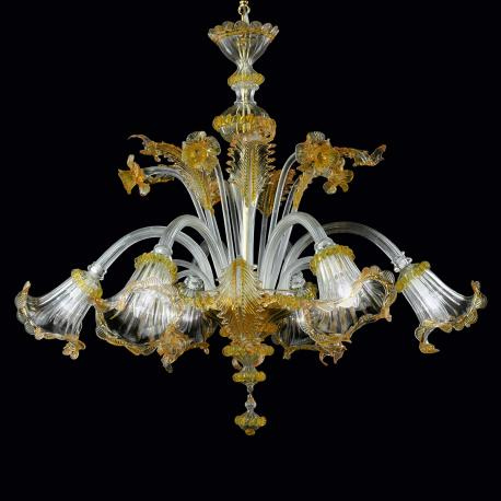 """Adelaide"" Murano glass chandelier - transparent and gold -"