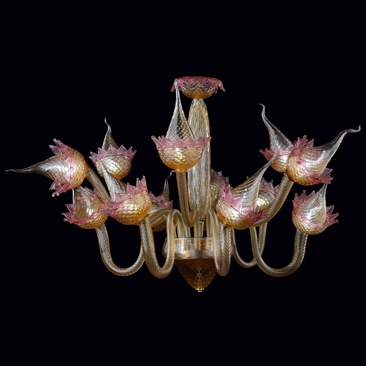 """""""Fuochifatui"""" lampara de araña de Murano - ámbar y rosa -"""