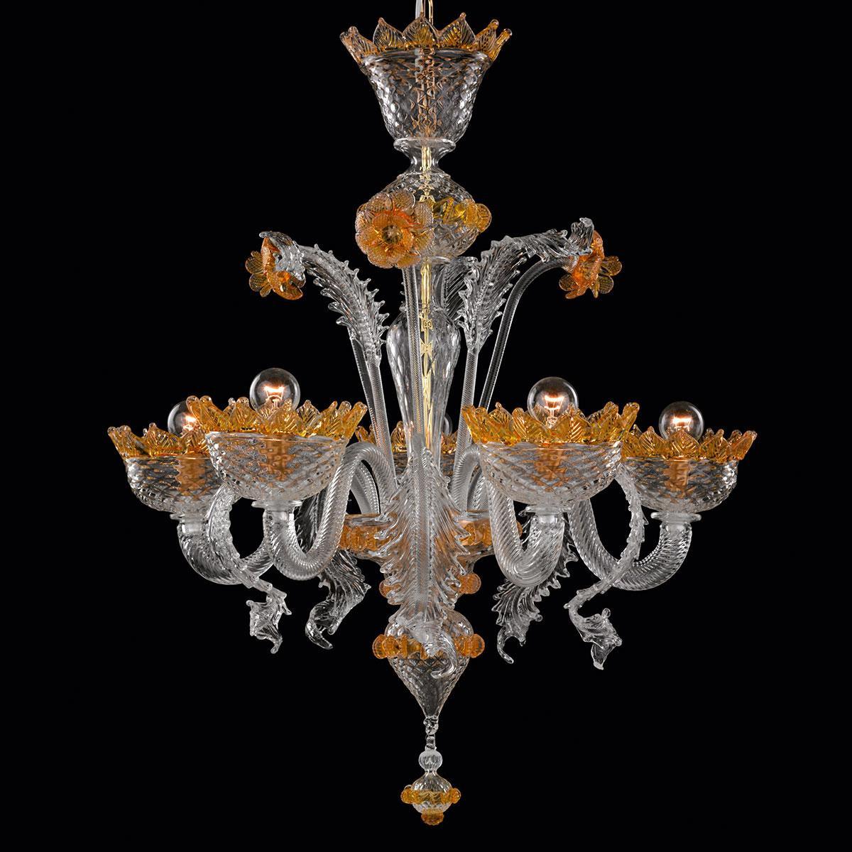 """""""Norma"""" lampara de araña de Murano - transparente y ámbar-"""