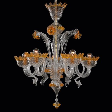 """Norma"" Murano glass chandelier - transparent and amber -"