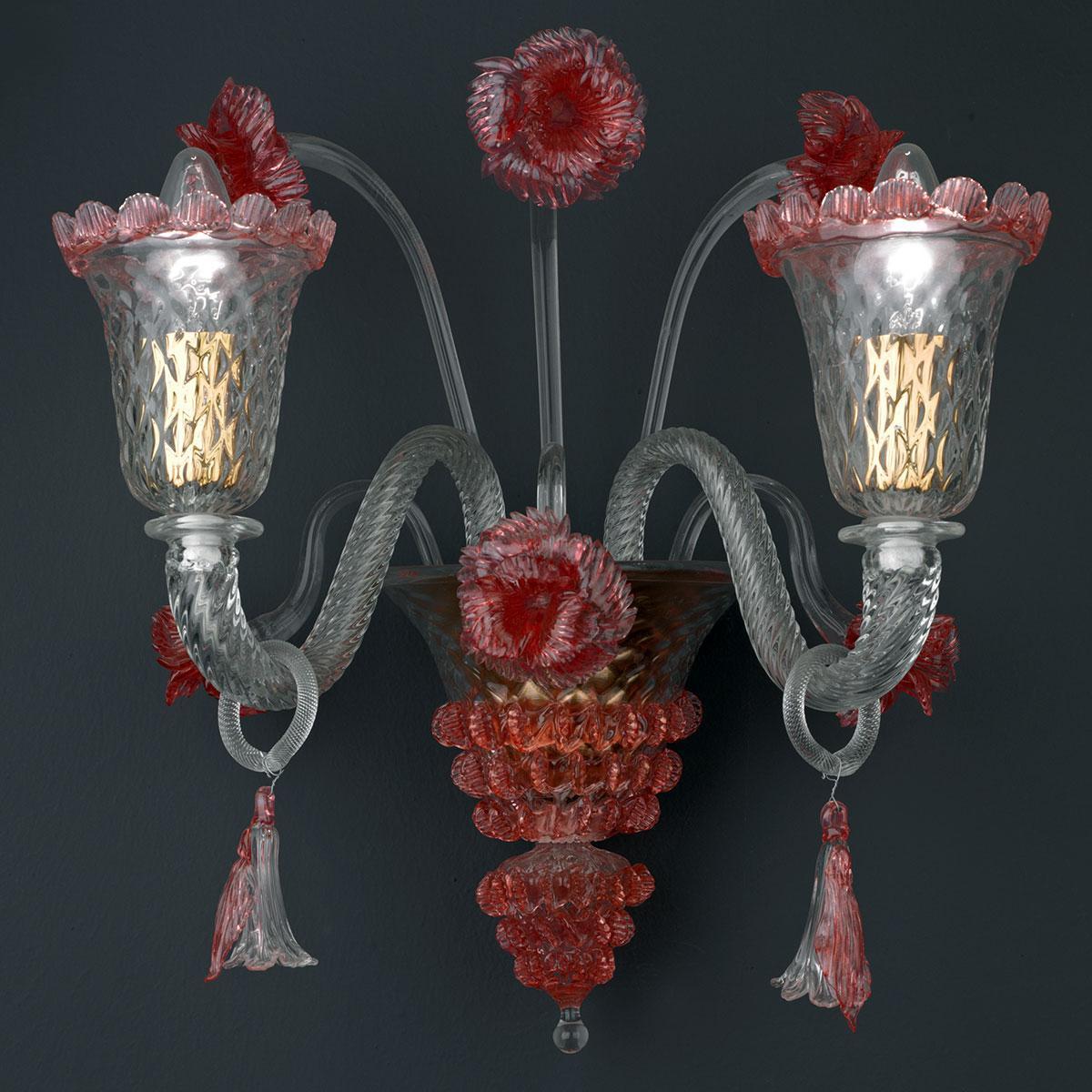 """""""Abigail"""" lampara de araña de Murano - transparente y rojo -"""