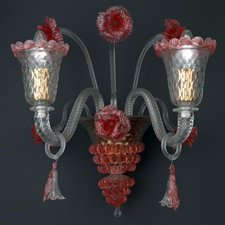 """Abigail"" Murano glass chandelier - transparent and red -"