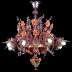 """Bucaneve"" Murano glass chandelier - rose et -orange -"