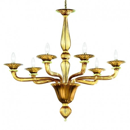 Sospiri 6 lights Murano chandelier - amber gold