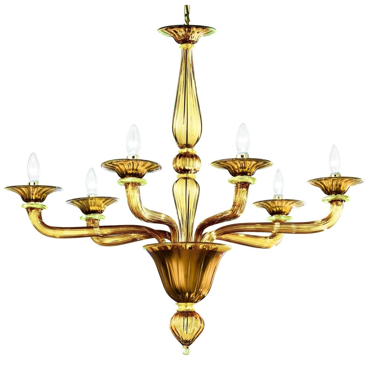 Sospiri 6 flammig Murano Kronleuchter - Bernstein Gold farbe