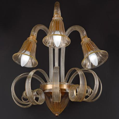 """Mealdria"" Murano glass sconce - transparent and gold -"