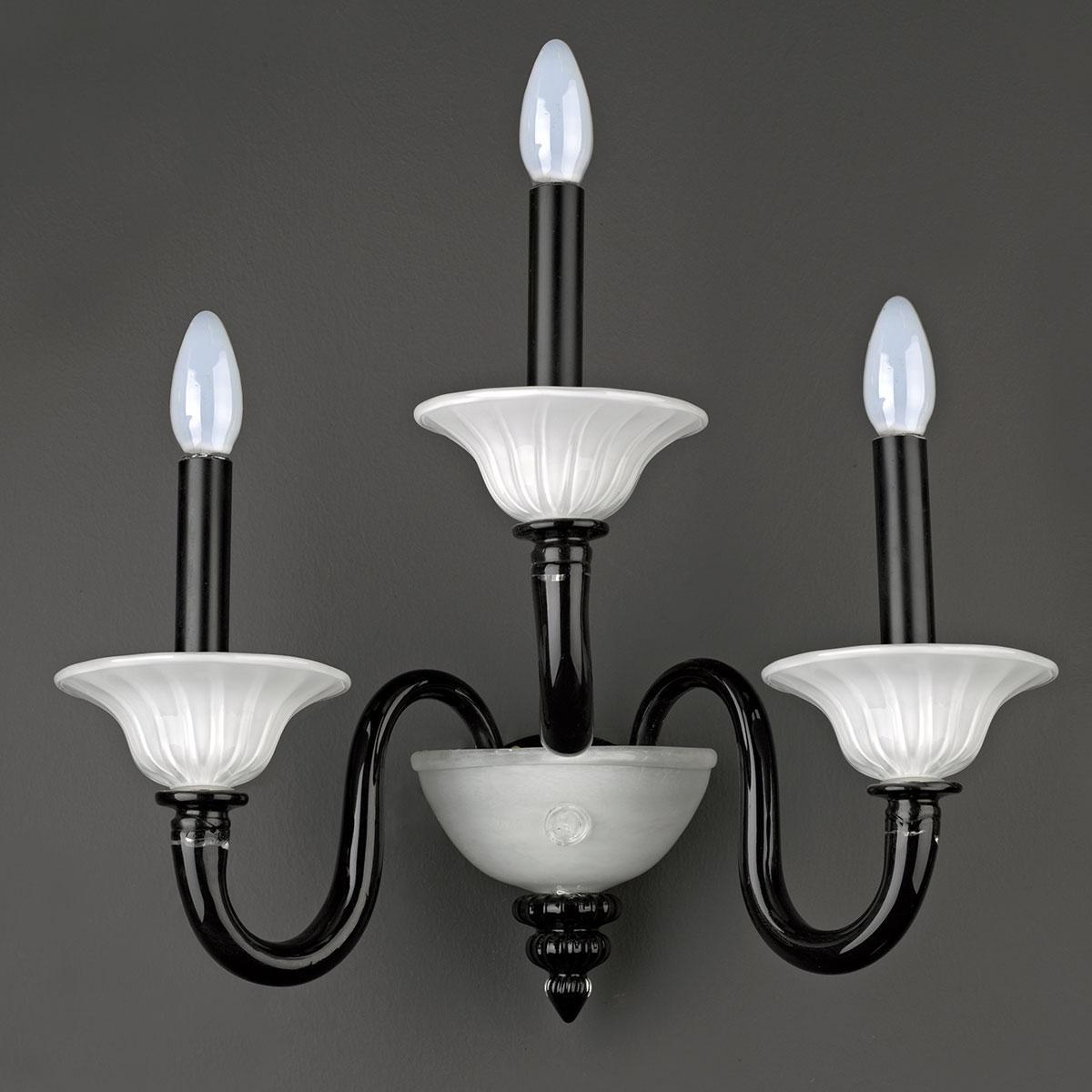 """""""Agape"""" applique en verre de Murano - noir et blanc -"""