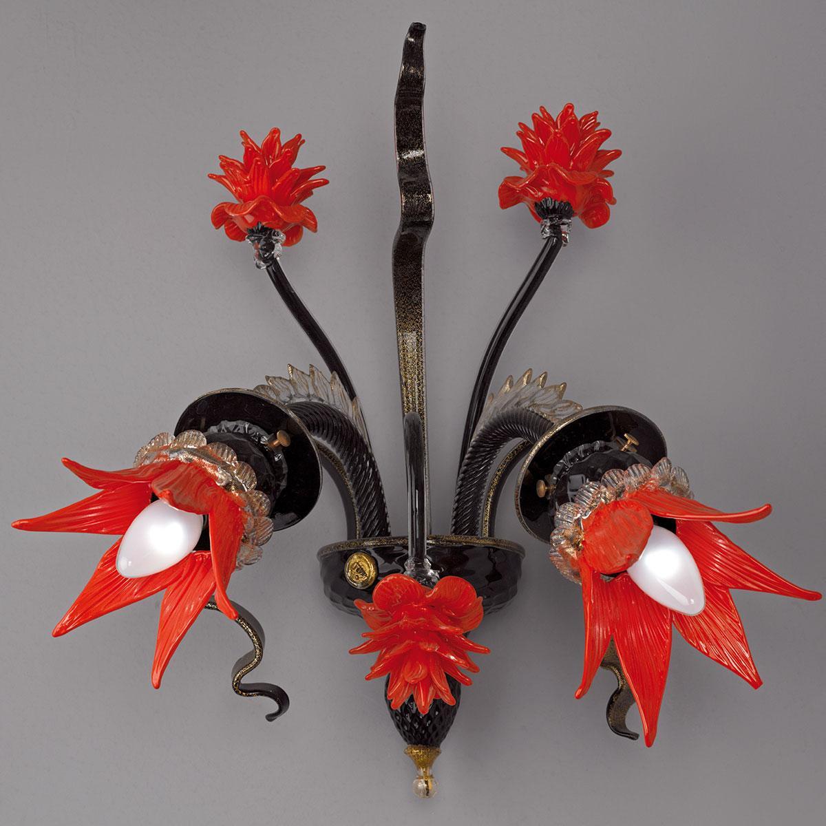 """""""Iphigenia"""" applique en verre de Murano - noir et rouge -"""