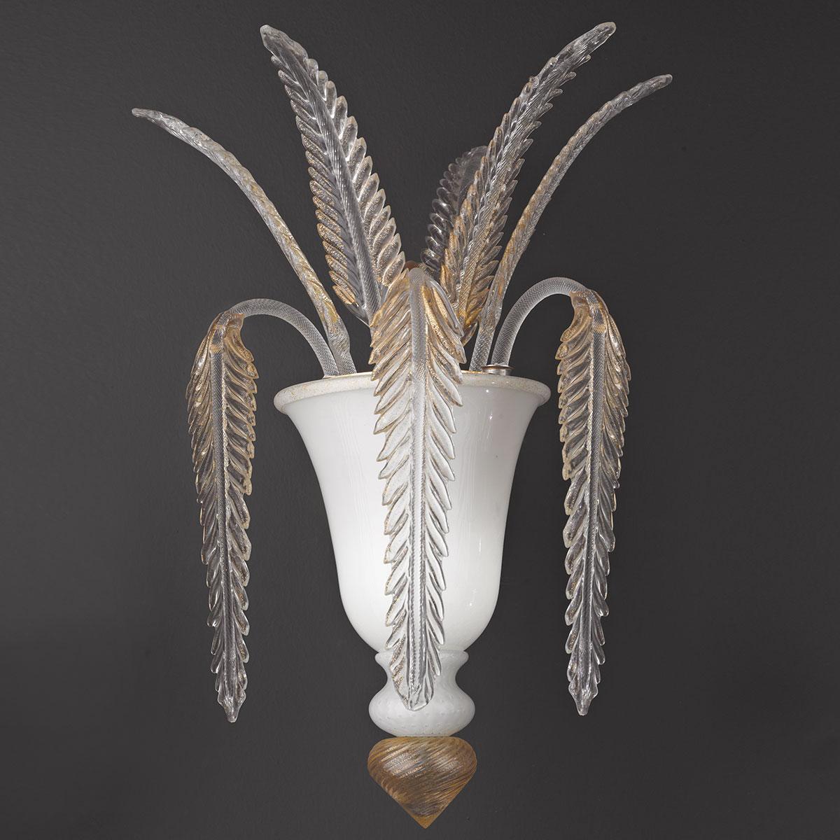 """""""Meti"""" applique en verre de Murano - blanc et oro -"""