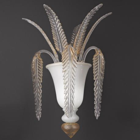 """""""Meti"""" Murano glass sconce - white and gold -"""