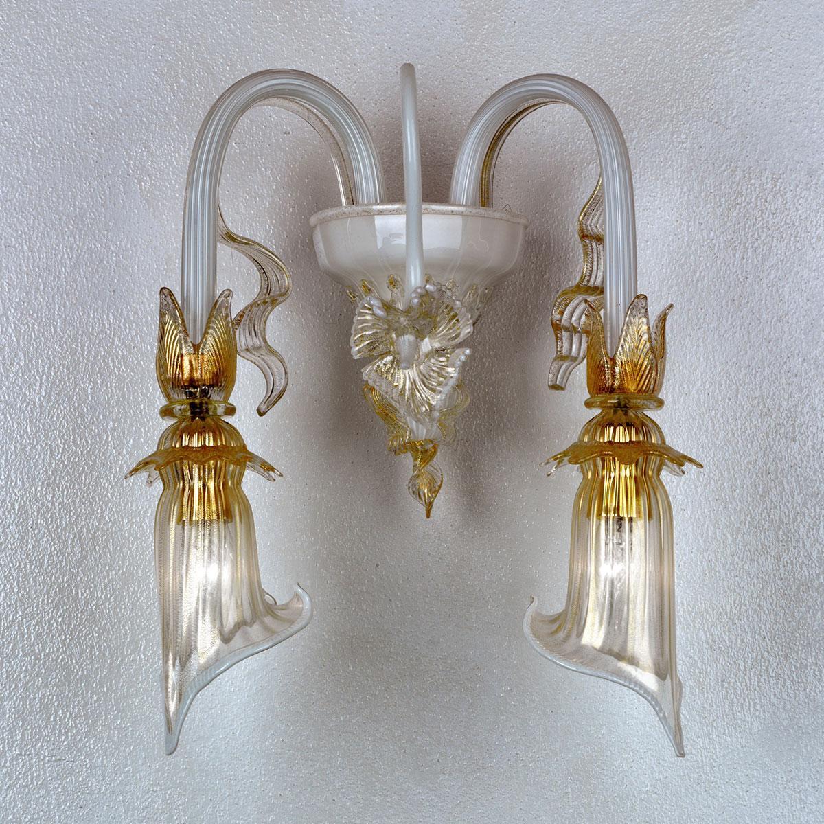 """""""Lete"""" Murano glas wandleuchte - weiß und gold -"""