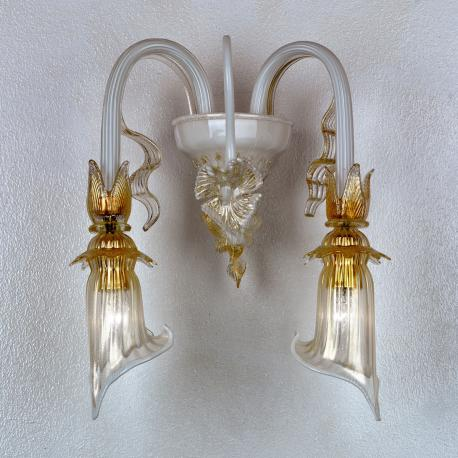 """Lete"" Murano glass sconce - white and gold -"