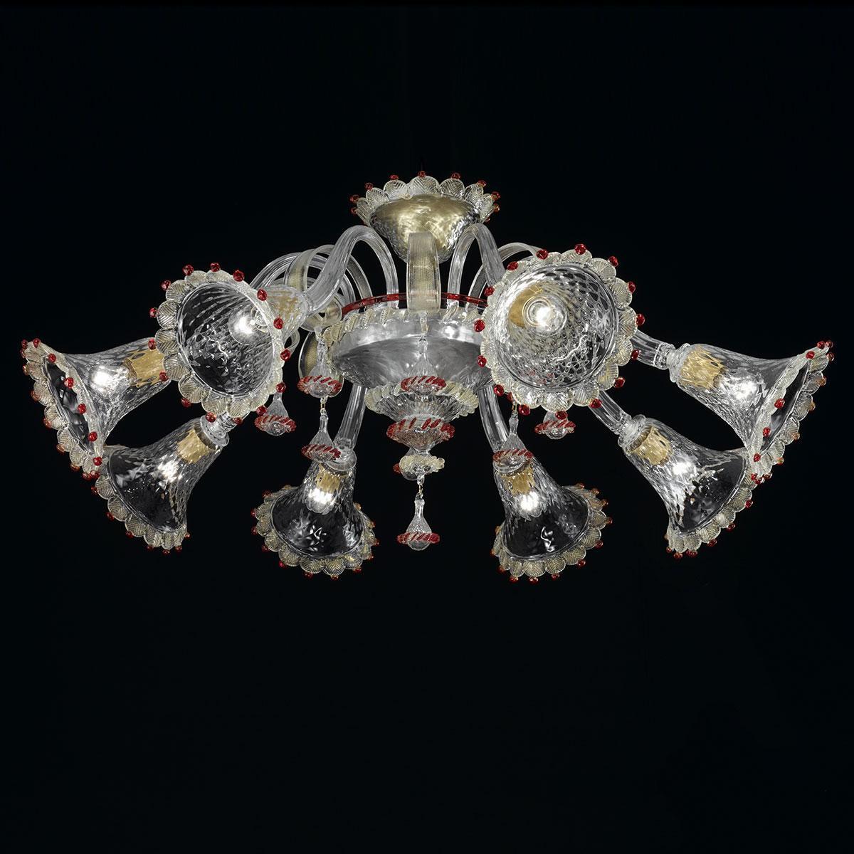 """""""Rosalba"""" plafonnier en verre de Murano - 8 lumières - transparent, or et rouge"""