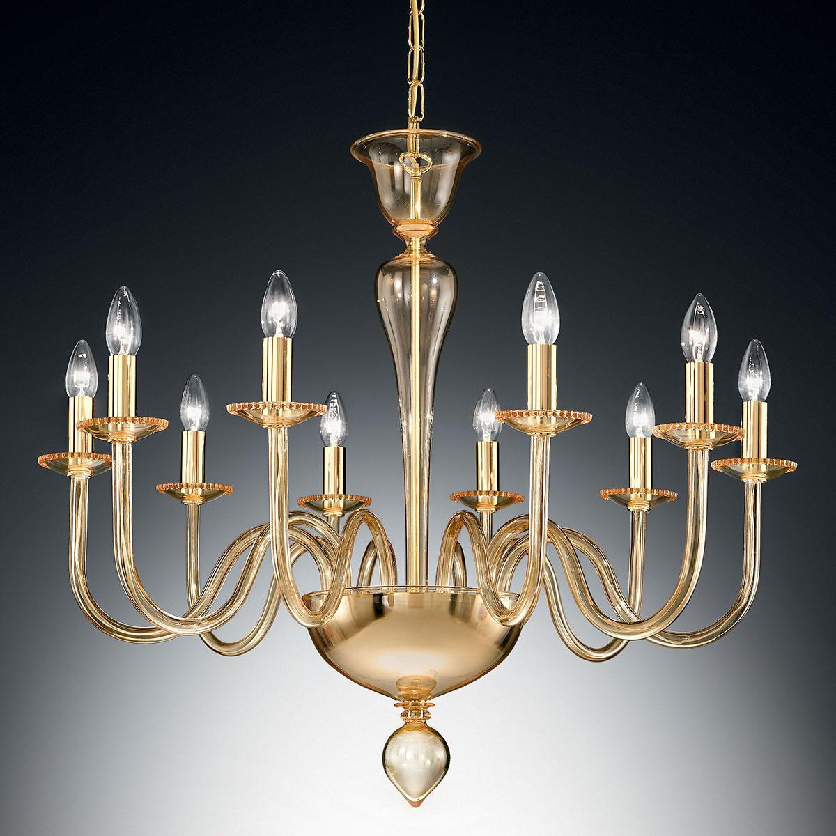 """Melania"" Murano glass chandelier - 10 lights - amber"