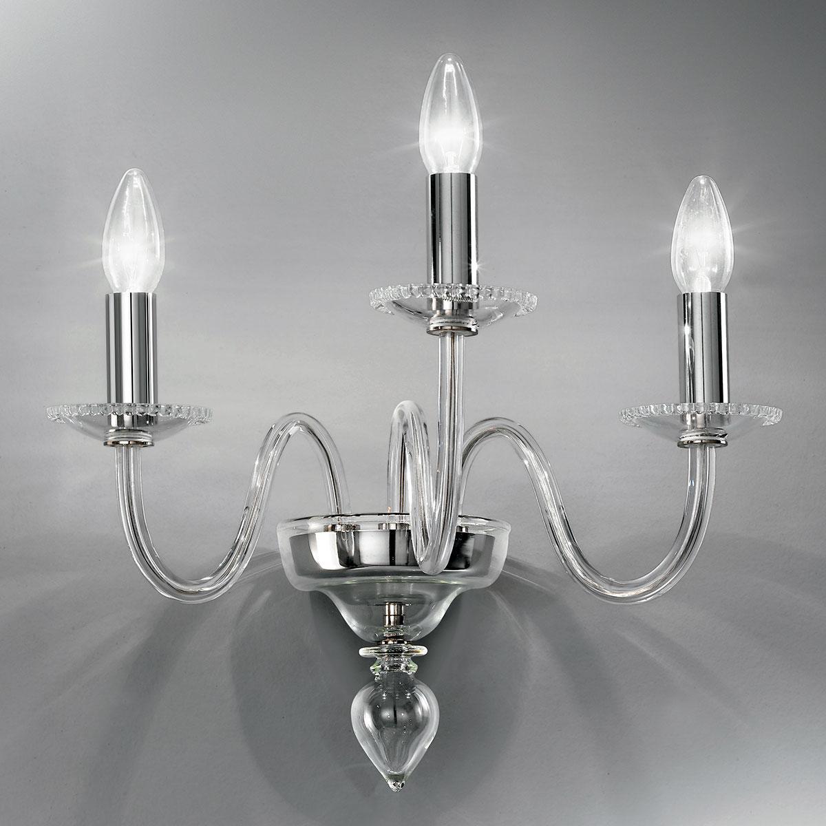"""Melania"" applique en verre de Murano - 3 lumières - transparent"