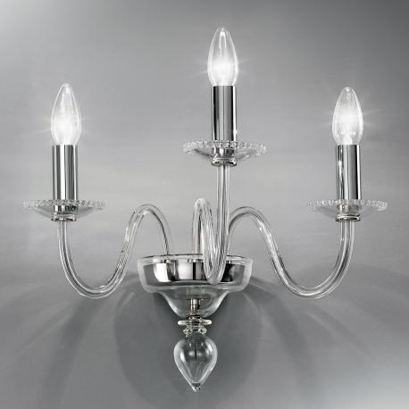 """Melania"" Murano glass sconce - 3 lights - transparent"