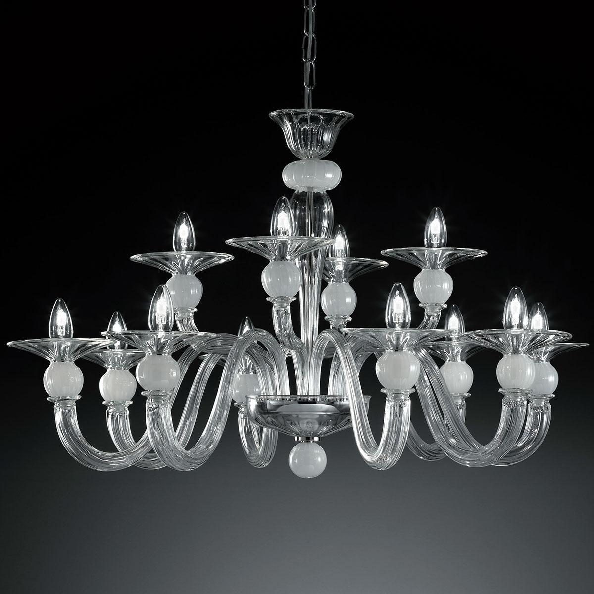 """""""Wolfgang"""" lustre en cristal de Murano - 8+4 lumières - transparent et blanc"""