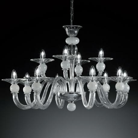 """Wolfgang"" Murano glass chandelier - 8+4 lights - transparent and white"