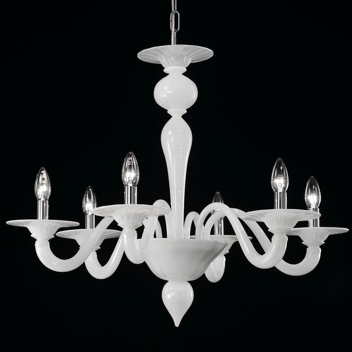 """""""Serana"""" lampara de araña de Murano - 6 luces - blanco"""
