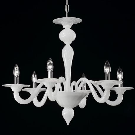"""Serana"" Murano glass chandelier - 6 lights - white"