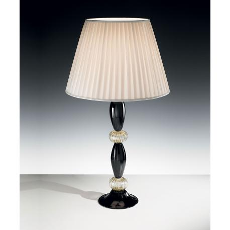 """Paride"" Murano glass table lamp - black and gold -"