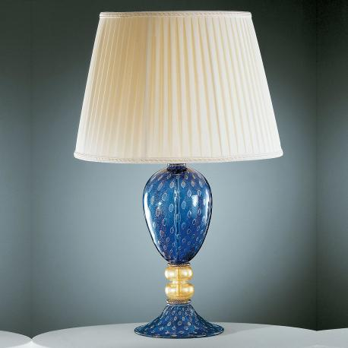 """""""Imperia"""" lampara de sobremesa de Murano - azul y oro -"""