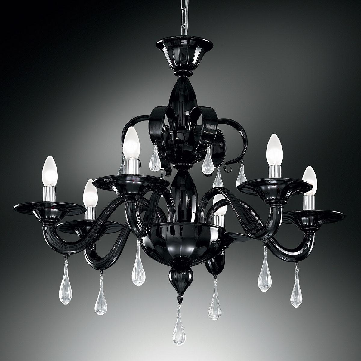 """""""Olivia"""" lustre en cristal de Murano - 6 lumières - noir et transparent"""