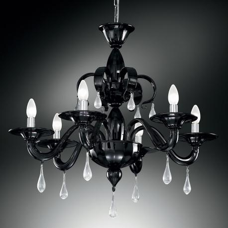 """Olivia"" Murano glass chandelier - 6 lights - black and transparent"