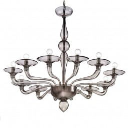 Squero 12 lights Murano chandelier smoke color
