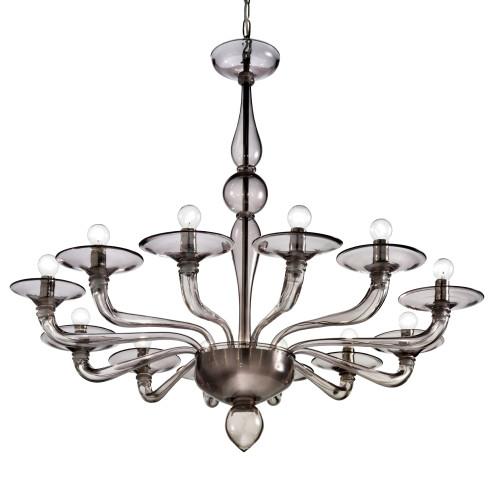 Squero 12 lights Murano chandelier smoke color
