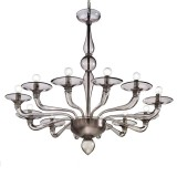 Squero 12+6 lights Murano chandelier - black color